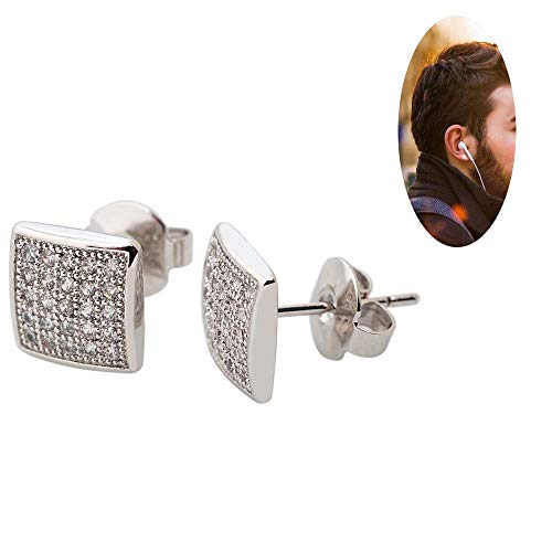 Bala Silver Tone Square Cubic Zirconia Stud Earrings Women/Men 8mm