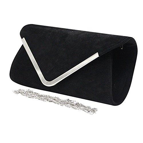Black Velvet Shoulder Crossbody Wiwsi Bag Clutch Purse Satchel Pink Chain Women Messenger Sq5wPq