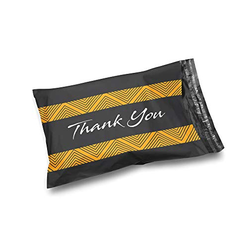 Black Poly Bags - Shop4Mailers 10 x 13 Glossy Thank You Poly Bag Mailer Envelopes 2 Mil (100 Pack, Black Background)
