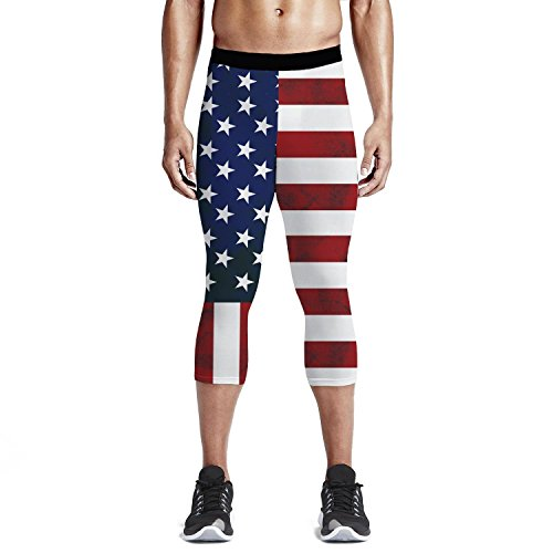 Men's Compression 3/4 Capri Shorts Baselayer Cool Dry Sports Tights, American Flag Workout Running Tights Pants and Leggings