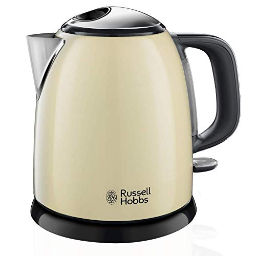 Russell Hobbs Colours Plus - Hervidor de Agua Electrico Pequeno (2400 W, Hervidor de 1l, Kettle Inox, Crema) - ref 24994-70
