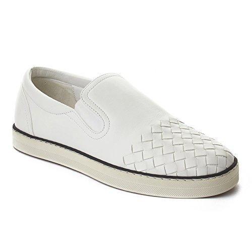 Bottega Veneta Women's Intrecciato Calf Sail Slip-on Sneakers Shoes White