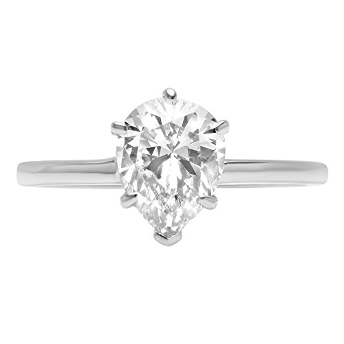 - 2.0 ct Brilliant Pear Cut Solitaire Highest Quality Moissanite Ideal VVS1 D 6-Prong Engagement Wedding Bridal Promise Anniversary Ring in Solid Real 14k White Gold for Women, Size 7