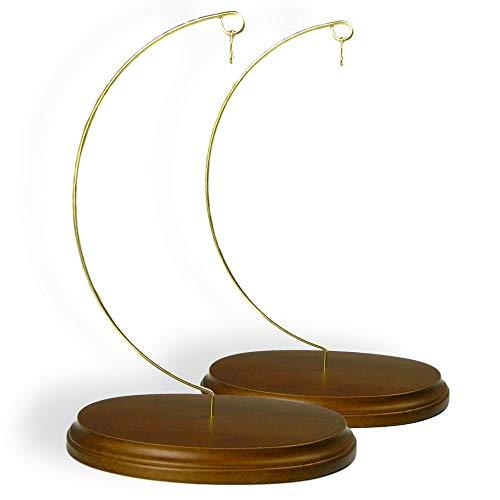 (Wood Ornament Stands Holder Solid Walnut Base - Pack of 2)