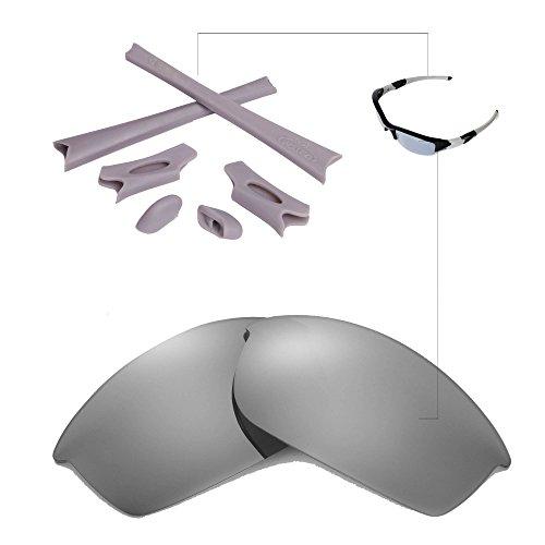 Walleva Titanium Polarized Lenses & Grey Rubber Kit For Oakley Flak - Accesories Oakley