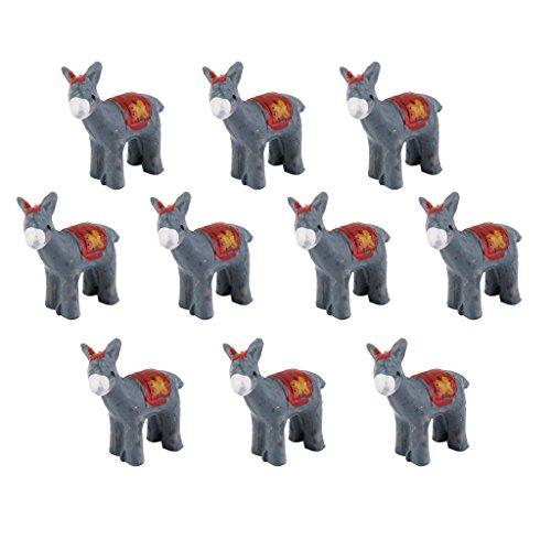 Donkey Ornaments - 10pcs Miniature Little Donkeys Bonsai Ornaments Micro Landscape Decoration