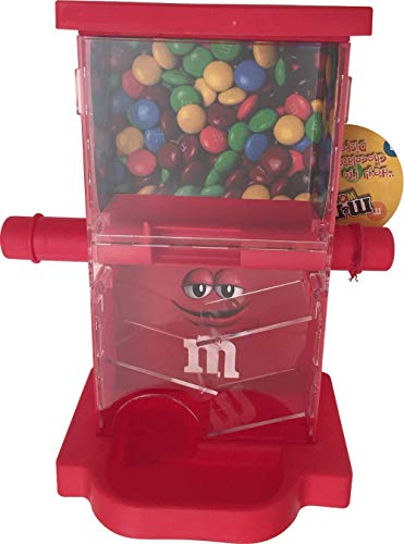 M&M Candy Dispenser ZIG ZAG with Storage Area, a Dispensing Bar and a Drog Area to Dispense Candies (Red)