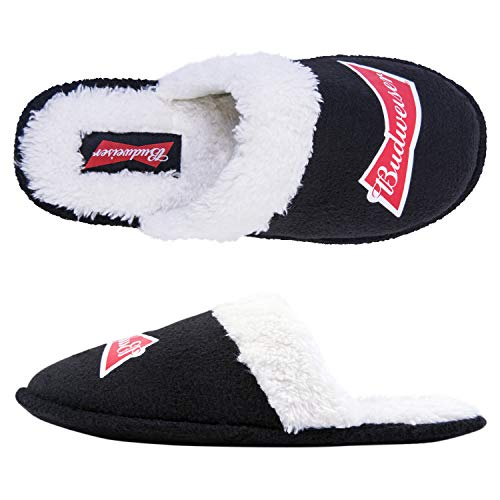 - Anheuser-Busch Budweiser Mens Slippers - Officially Licensed Budweiser Beer Slippers (Budweiser Black, Small - Fits Shoe Sizes 7-8)