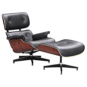 Designer Modern Classic Plywood Lounge Chair U0026 Ottoman With Palisander Base  U0026 Black Leather Uphostery
