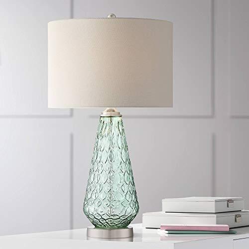 Julia Modern Table Lamp Green Glass White Drum Shade for Living Room Bedroom Bedside Nightstand Office Family - 360 Lighting (Green Glass Lamp)