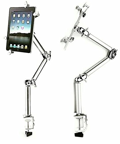 Tablet IPad Clip Mount Multi-Functional Universal – Desk Clamp – 360 Degree Rotating Tablets Holder For Car, Kitchen and Bed – Easy and Relaxed Viewing Night Stand With Aluminum Alloy –VALEBY by VALEBY