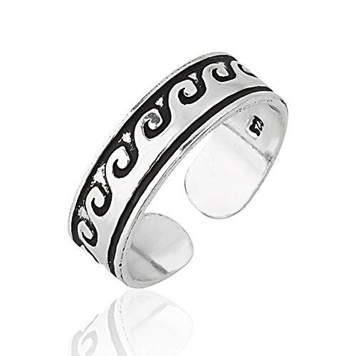 925 Sterling Silver Simple Shiny Polished Wide Wave and/ or Swirl Toe Ring, 5mm ()