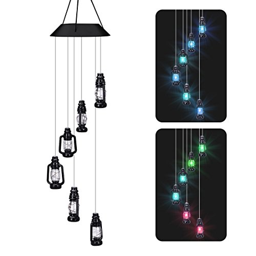 Cheap LUCKYDIY LED Solar Wind Chime, Changing Color Waterproof Six Lantern Lamp Wind Chimes For Home Party Night Garden Decoration