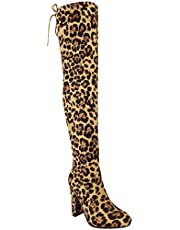 Fashion Thirsty Womens Thigh High Boots Over The Knee Party Stretch Block Mid Heel