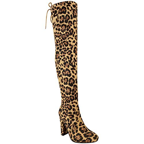 WOMENS LADIES THIGH HIGH BOOTS OVER THE KNEE PARTY STRETCH BLOCK MID HEEL SIZE Leopard Print Faux Suede