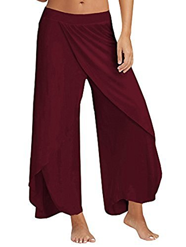 COCOLEGGINGS+Women%27s+Girls+High+Slit+Wide+Leg+Palazzo+Yoga+Pants+Wine+Red+L