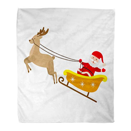 Golee Throw Blanket Funny Santa Claus Riding Reindeer Sleigh Christmas Symbol Cartoon Character 50x60 Inches Warm Fuzzy Soft Blanket for Bed Sofa