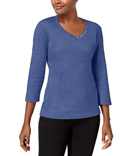 Karen Scott Cotton V-Neck Button Top (Heather Indigo, XL) (Karen Tops Scott)