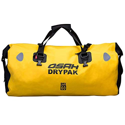Motorcycle Duffle Bags - Motorcycle Dry Duffle Tail Bag 500D PVC Waterproof Saddle Bag Luggage Reflective Yellow 60L for Motorcycling, Hiking, Cycling, Travel, Camping, Outdoor, Boating