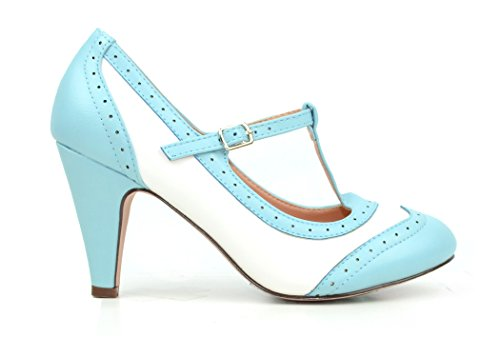 Chase & Chloe Kimmy-51 Women's Two Tone T-Strap Pump (10, Lt. Blue/White)