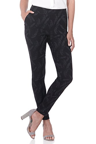 Front Jacquard Dress - Rekucci Women's Ease in to Comfort Modern Stretch Skinny Pant w/Tummy Control (18,Black/Graphite Flower Jacquard)