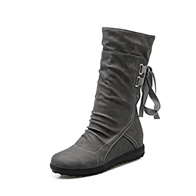 Amazon.com | Mostrin Women's Winter Mid Calf Boots Slouchy