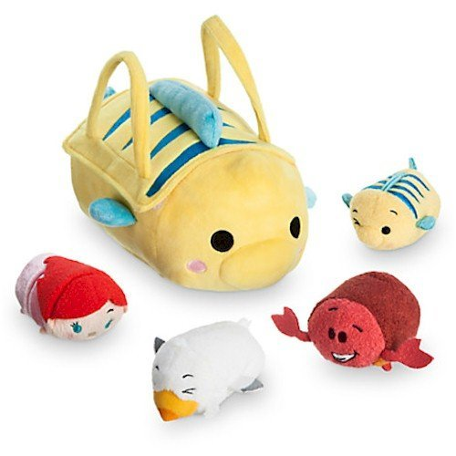 The Little Mermaid ''Tsum Tsum'' Plush Set - Small Bag - 8'' - Plus 4 Minis - 3 1/2'' (The Little Mermaid Tsum Tsum)