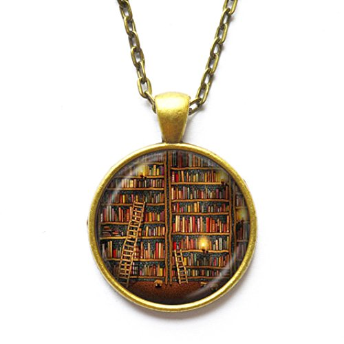 ON SALE Vintage Library necklace , Librarian gift pendant , Vintage Books jewelry , books gift, writer ,teacher , book nerd gift (Sale Vintage Pendant)