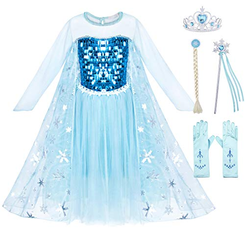 Cotrio Elsa Costume Dress Girls Snow Queen Princess Dresses Kids Halloween Outfit Clothes Party Fancy Dress with Wig, Gloves, Tiara, Wand Size 8 (7-8 Years, Blue, 130)