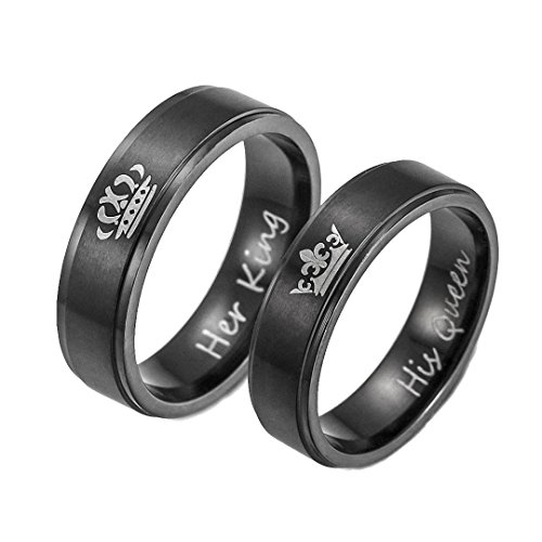 Kalapure King and Queen Titanium Ring - His and Hers Couples Stainless Steel Ring Set Wedding Band Set Anniversary Engagement Promise Ring (Queen 7)