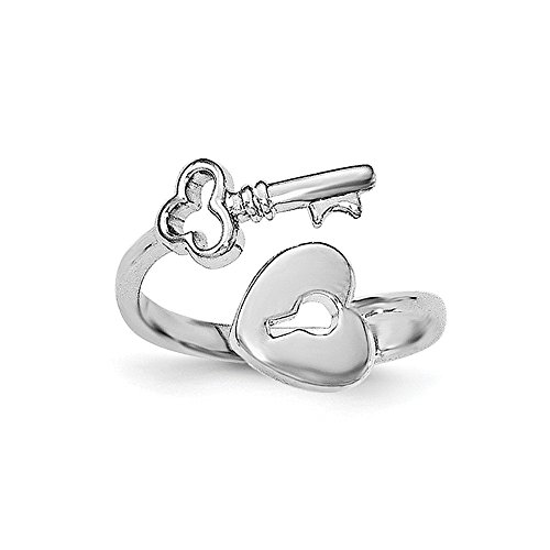 Perfect Jewelry Gift Sterling Silver Rhodium-plated Heart Lock & Key Toe Ring Sterling Key Ring