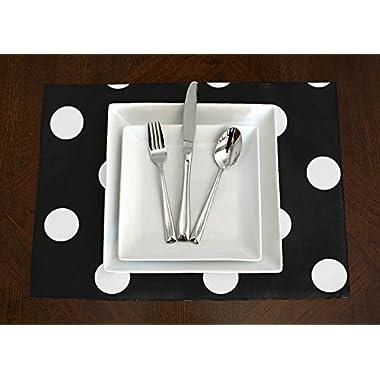 Set of 4 - Black & White Polka Dot Modern Placemat Topper Table Mat