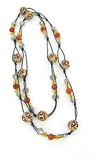 (Linpeng Antique Style Carved, Shell, Bicone Crystal & Marble Amber Beads Long)