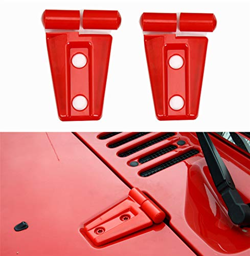 2pack ABS Front head Engine hood Hinge Cover Molding Trim for Jeep Wrangler JK Unlimited 2/4Door 2007-2018(red)