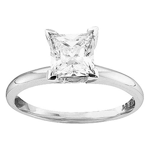 14k Princess Solitaire Diamond Band - Size 7-14k White Gold Princess Cut Diamond Solitaire Bridal Wedding Band Engagement Ring (1/4 Cttw)