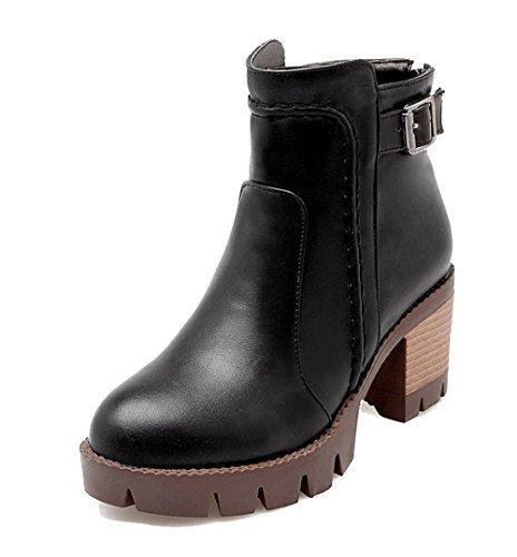 Noir Chiusa a Tacco Corti a Stivali Shoes Inverno Blocco EuX87 AgeeMi Zip Donna Scarpe qYwUwOI