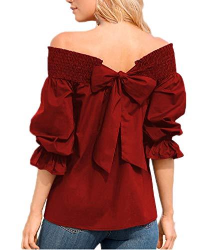 Shirt Tops Chemisiers N Fashion Printemps Papillon Shirts Jeune Bateau Tee T Automne Vin Rouge Femme Manches Col Blouse Longues et Haut ud Arrire xCzxPS