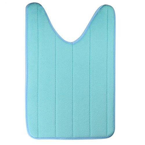 Gilroy 40x 60cm forma de U Ctton Alfombrilla de baño antideslizante Alfombra de baño (para baño habitación, Azul...