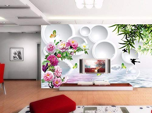 (Minyose Custom Wallpaper Home Decorative Mural Peony Weeping Willow Water Reflection 3D Ring Tv Background Wall 3D)