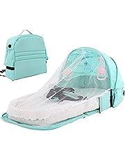 Bärbar babysäng nyfödda, ANSET hopfällbara barnvagnar resesäng spädbarn bo sovstol säng med tak myggnät sovkorg med leksaker