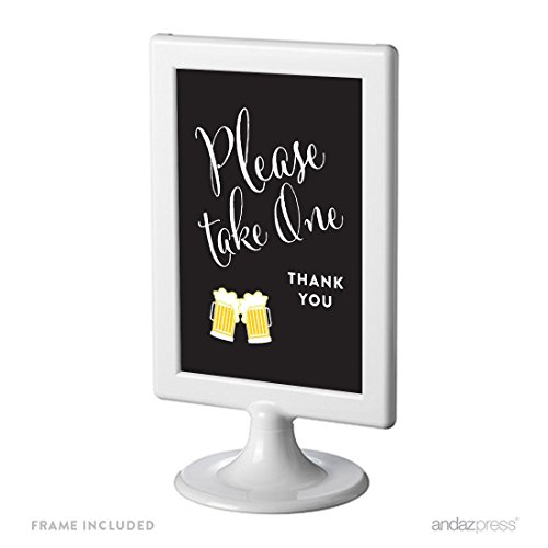 Andaz Press Birthday Framed Party Sign, Double-Sided 4x6-Inch, Please Take One Party Favors Table Signage, Beer Mugs Cheers!, 1-Pack, Includes (Mug Favors)