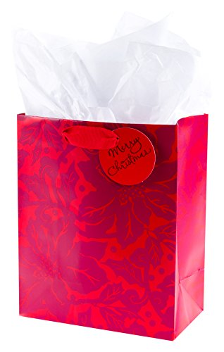 (Hallmark Medium Christmas Gift Bag with Tissue Paper (Poinsettias))