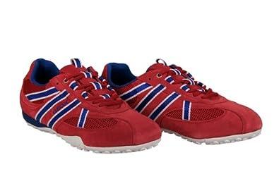 Geox Snake S Herrenschuhe rot blau Velour Sneakers