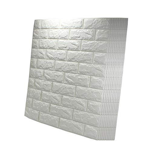 VViViD 10-Pack White Foam Brick Peel-and-Stick Adhesive Paintable Wallpaper 57.72 Square Foot Decorative Panel
