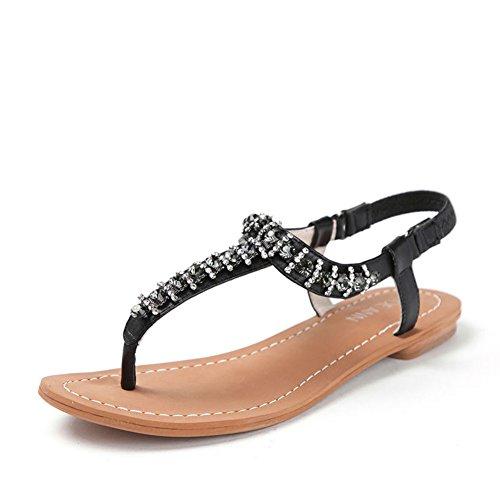 Sandalias de verano/Sandalias planas de dedo del pie del rhinestone Negro