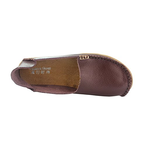New Leather Women's fisca Coffee Flat Shoes Loafer Moccasins YOwxHg