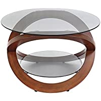Modern Walnut & Smoked Glass Eclipse Coffee Table