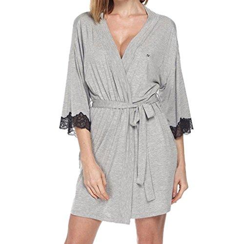 Donna Grigio Casacca Spa Pigiama Notte Robe casual accappatoio Pigiama Hibote Robe per Soild Elegante Kimono bagno UdZanwx