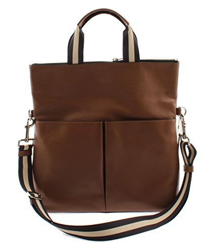 Coach Charles Foldover Tote in Smooth Leather (Dark Saddle) - F54759 CWH