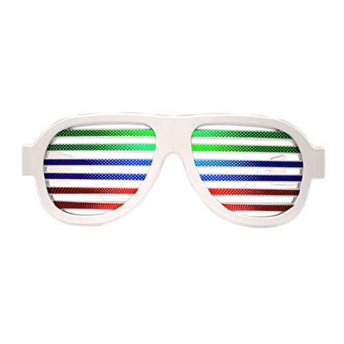 Milemelo Music & Sound-Activated LED Light Glasses, USB Rechargeable LED Flashing Sunglasses of Shutter Shades Eyewear for Party Decoration, Clubbing, Bar, Rave, Birthday, Concert & Disco]()